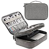 Honeystore Travel Gear Organizer Electronics Accessories Storage Bag Double Layers Travel Gadget Organizer Case for iPad Mini, USB Cable, Plug, Flash Drive, Power Bank, Earphone, Cards and More Gray