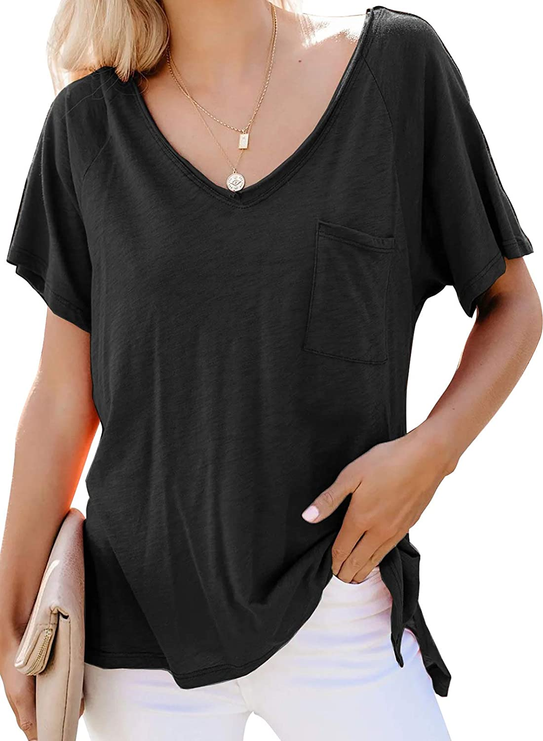 Biucly Women's Short Sleeve V-Neck Shirts Loose Casual Tee T-Shirt with Pocket