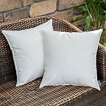 MIULEE Pack of 2 Decorative Outdoor Waterproof Pillow Cover Square Garden Cushion Case PU Coating Throw Pillow Cover Shell for Tent Park Couch 18x18 Inch Off White