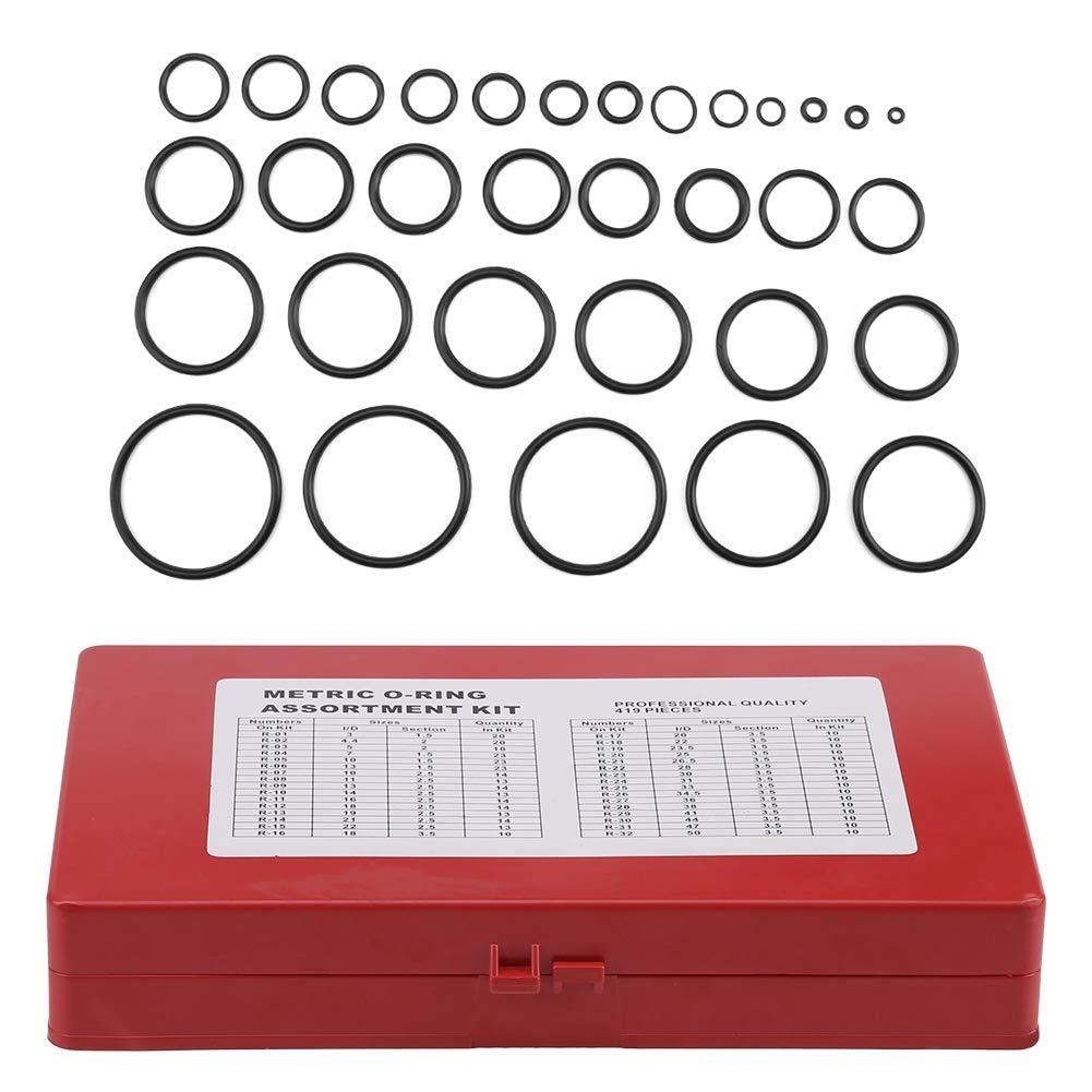 Bearings 419pcs O-Ring Assortment Set Seal Gasket Universal Rubber O Ring Kit R01-R32 for Pumps Seal Gasket Electrical Equipment Etc