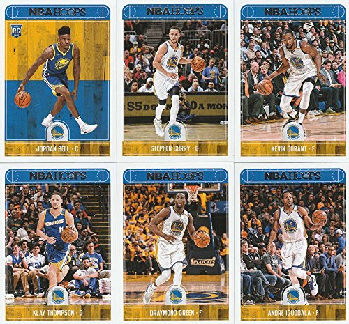 2017-18 Panini NBA Hoops Golden State Warriors Team Set of 10 Cards: Nick Young(#110), Stephen Curry(#236), Kevin Durant(#237), Klay Thompson(#238), Draymond Green(#239), Andre Iguodala(#240), Patrick McCaw(#241), Zaza Pachulia(#242), Shaun Livingston(#243), Jordan Bell(#288)