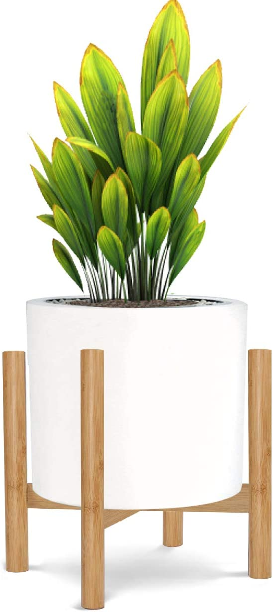 """Honest Mid Century Modern Bamboo Indoor Plant Stand,(Plant and Pot NOT Included) Rustic Wood Flower Pot Holder, (Fits Pots:10""""-12"""",Bamboo)"""