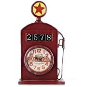 Lily's Home Antique Inspired English Gas Pump Mantle Clock, Battery Powered with Quartz Movement, Makes an Ideal Gift for Antique Sign Collectors, Red (13  Tall)
