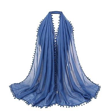 0b4a421ff5db Rovinci 1 PC Été Printemps Femmes Foulard Mode Dames Couleur Unie Coton  Boule de Cheveux Écharpe Musulman Doux Emballage Longue Châle (Bleu)   Amazon.fr  ...