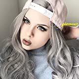 Riglamour Silver Grey Wig Synthetic 100% Fiber Gray Hair Long Wavy Lace Front Wigs Invisible Part for Women Half Hand Tied Heat Resistant