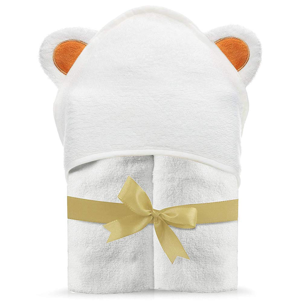 LATTCURE Organic Bamboo Baby Hooded Towel with Super Soft and Absorbent Toddler Hooded Bath Towels, Shower Gifts for Girls, Babies, Newborn,Boys, Toddler&Kids (Bear) by LATTCURE