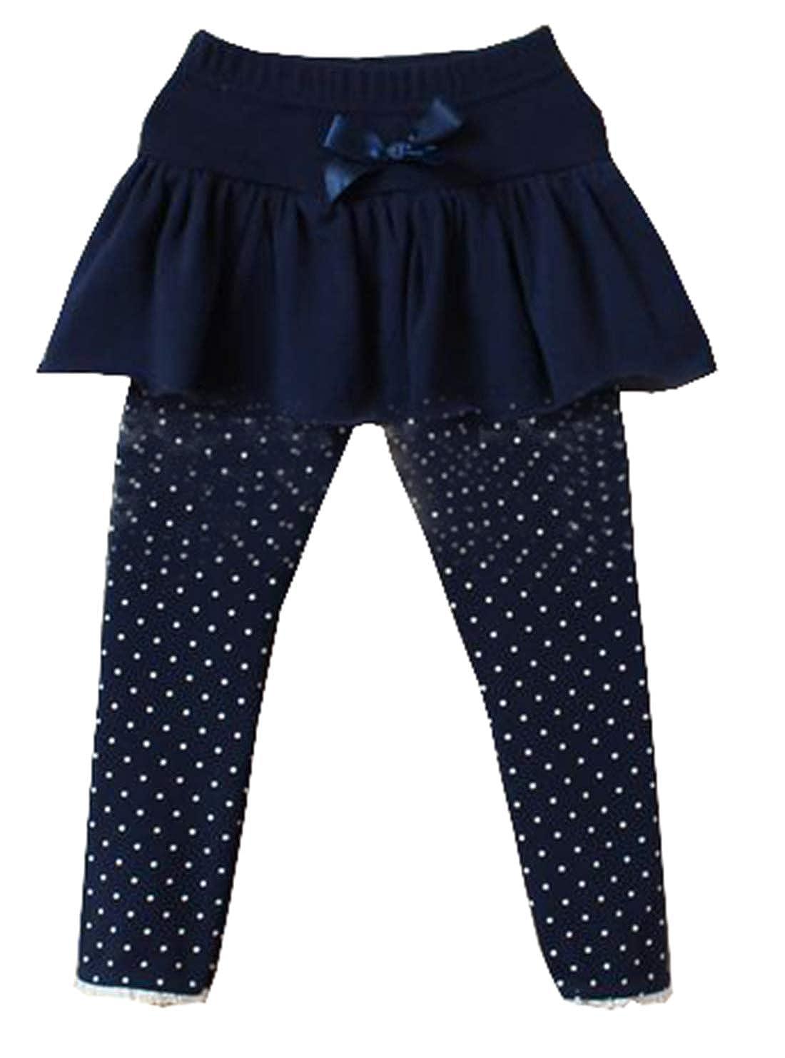 XNN Girls Cute Cotton Dot Skirted Tutu Leggings Pantskirt 3-8Years