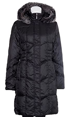 Utex Women's Quilted Down Filled - Faux Fur Trim Hooded Coat ...