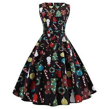 c8f05c06414 Seamount Women s Vintage 1950s 50S Retro Xmas Evening Swing Dress  Sleeveless Print Prom Dress Dress Christmas