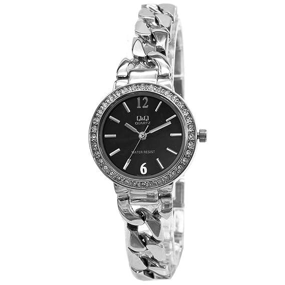 Q&Q - Reloj analógico para mujer, esfera negra, -F503J202Y