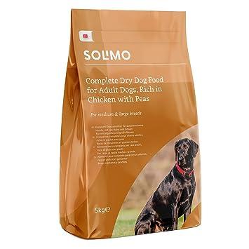 Marca Amazon - Solimo - Alimento seco completo para perro adulto rico en pollo con guisantes, 1 Pack de 5 kg: Amazon.es: Productos para mascotas