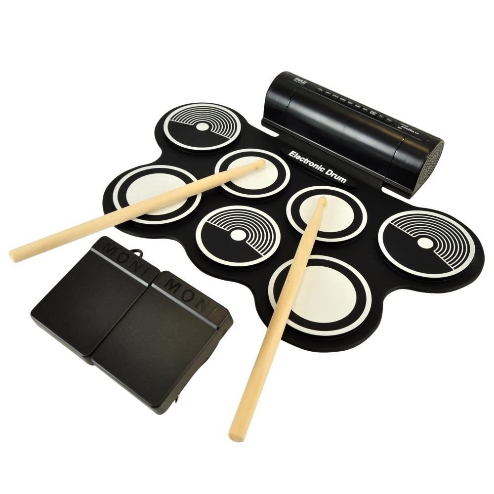 Pyle Electronic Roll Up MIDI Drum Kit W/9 Electric Drum Pads, Foot Pedals, Drumsticks, Power Supply | Quick Setup | Tabletop Roll Up Drum Kit | Pre-Loaded W/Drum Electric Kits & Songs (PTEDRL14)