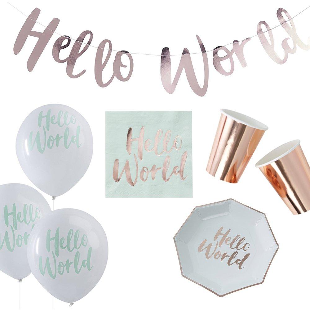 47 Teile Dekorations-Set Baby-Shower-Party 'Hello World' in mint & rosé -gold kupfer - 47 Teile - Party-Deko Set Baby-Shower-Party Mä dchen & Junge / Dekoration / Girlande / Teller / Becher / Servietten (47 Teile Deko-Set Hello World)