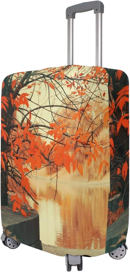 OREZI Luggage Protector,Autumn Park Maple Tree Landscape/_700890271 Elastic Travel Luggage Suitcase Cover,Washable and Durable Anti-Scratch Case Protective Cover for 18-32 Inches