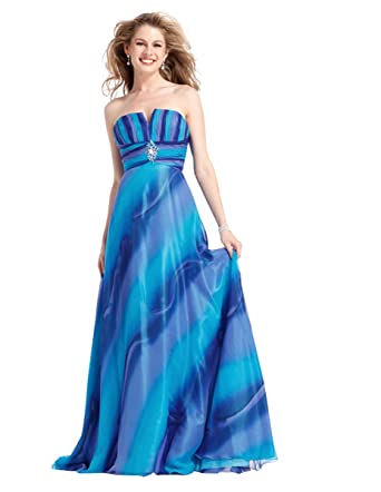 Clarisse Strapless Ombre Prom Gown 1371, Blue, 6