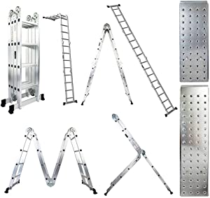 Luisladders Folding Ladder Multi-Purpose Aluminium Extension 7 in 1 Step Heavy Duty Combination EN 131 Standard (15.5 Feet)