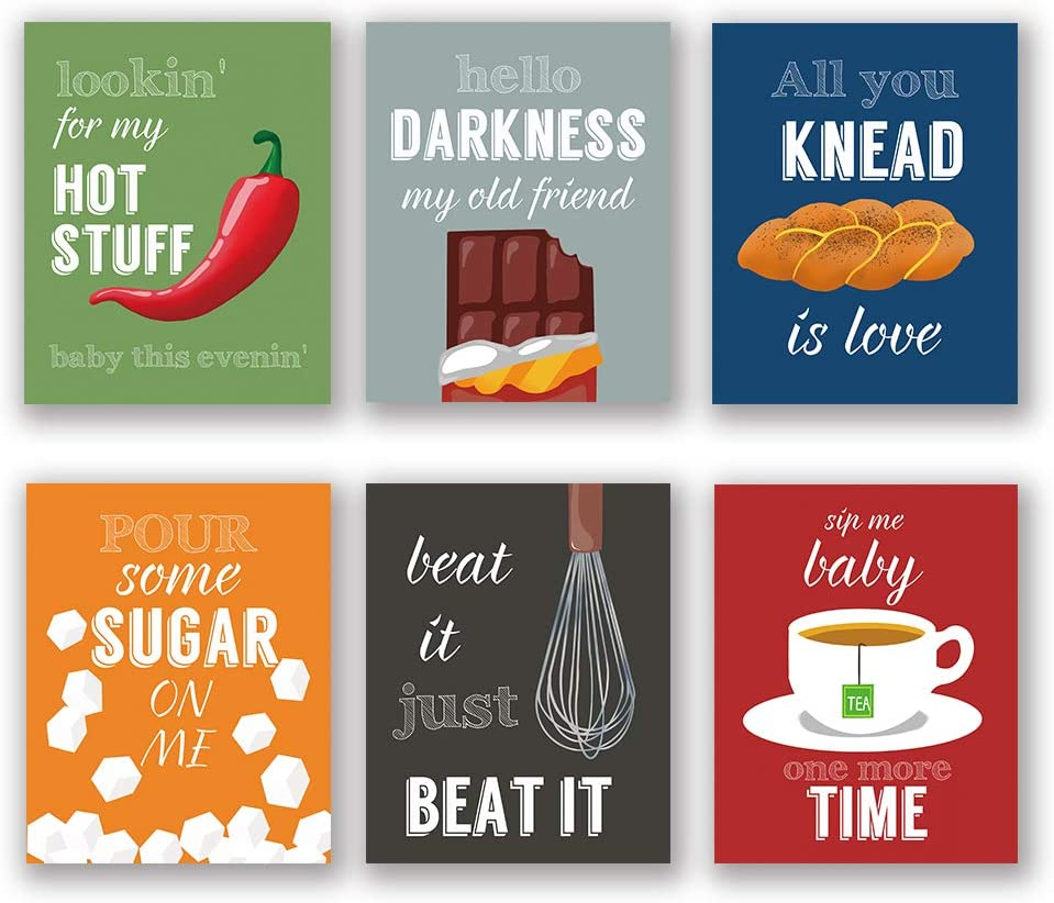 "6 Set- Colorful Funny Kitchen Quote Art Print, Dessert Vegetables Tea with Motivational Saying Canvas Wall Art Printing for Kitchen Cofee Shop Decoration (Unframed,8""X10"")"