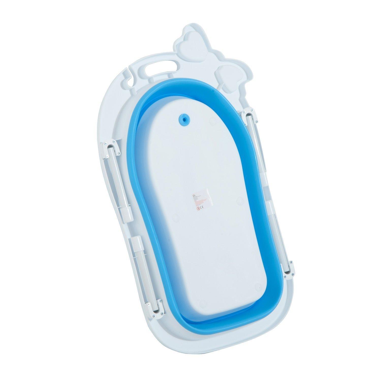 HOMCOM Ba/ñera para Beb/é y Ni/ño para Ba/ño Infantil Plegable Port/átil y Segura Certificado EN71-1-2-3 Material PP+TPE Color Blanco y Azul 89x53.5x38cm