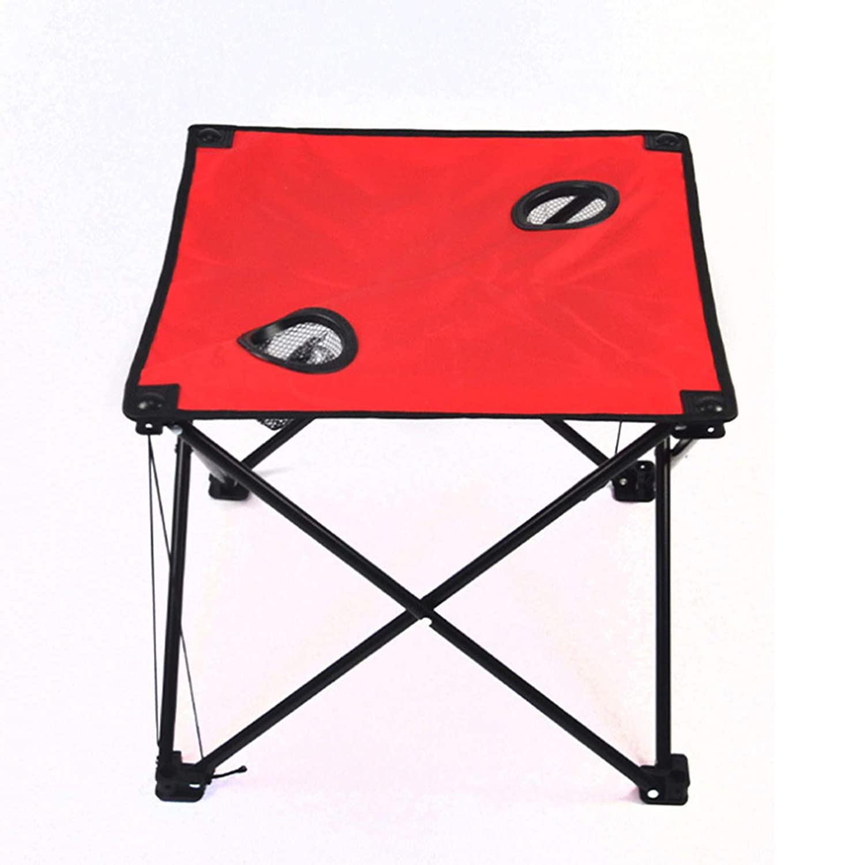 ZHESHEN Mesa Plegable de Camping, portátil, de Aluminio Ligero, Mesa de Picnic con portavasos, Tela Oxford, se Abre y se pliega en Segundos, tamaño Compacto ...