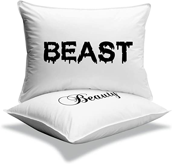 Amazon Com Mk Pillowcases Beauty Beast Super Soft Pillowcases Romantic Valentines Gifts For Couples Cute Idea Home Kitchen