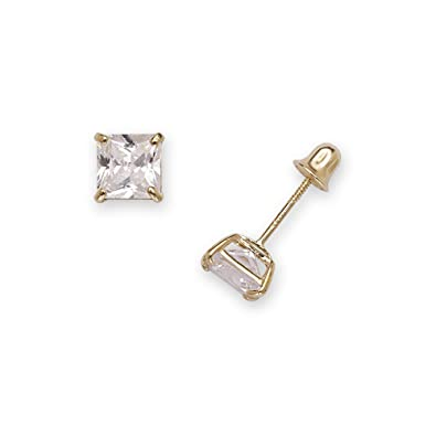 b0a69bf22 14k Yellow Gold Solitaire Princess Square Cubic Zirconia CZ Stud Screw-back  Earrings (2mm