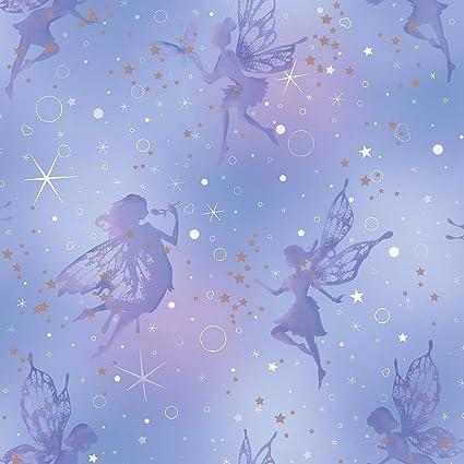 Purple Fairy Metallic Glitter Wallpaper Girls Bedroom Kids Girly Fairytale  Stars
