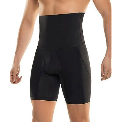 RIBIKA Men's Black Slimming Shorts High Waist Control Tummy Compression Shaper Pants