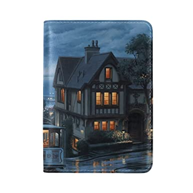 Building Facade Architecture Leather Passport Holder Cover Case Travel One Pocket