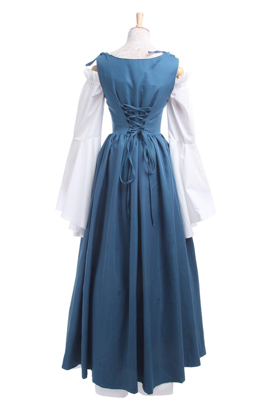ROLECOS Womens Renaissance Medieval Irish Costume Boho Underdress Overdress Coat Light Blue L by ROLECOS (Image #7)