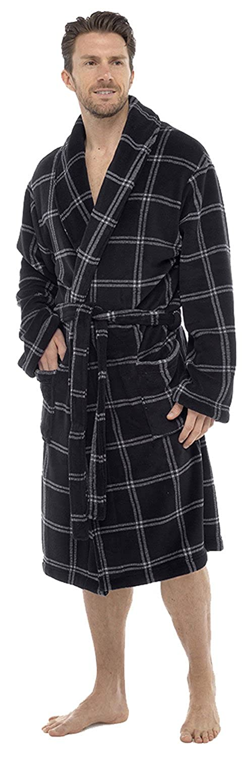 LD Outlet LUXURY MENS GENTS BATH ROBES FULL LENGTH COREL VELOUR ROBE DRESSING GOWN HOUSECOAT WITH BELT SIZE uk M-XL