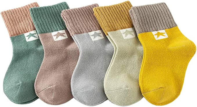 Sookiay 15 Pairs Cotton Crew Socks for Kids Toddlers Baby Boys Girls 1-3//3-5//6-9 Years