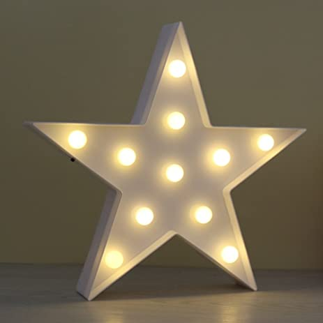 Amazon.com: JUHUI Marquee Light Star Shaped LED plastic Sign ...