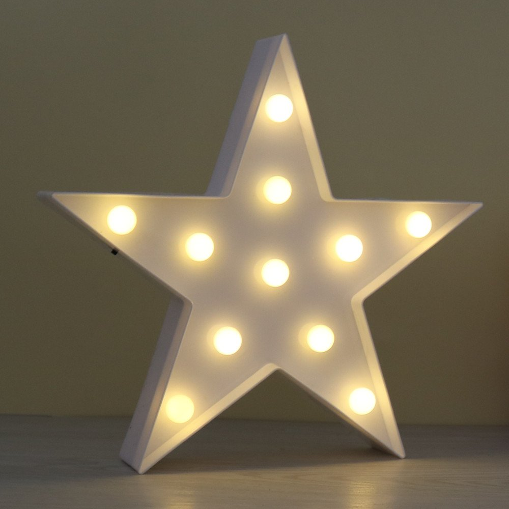 DELICORE JUHUI Marquee Light Star Shaped LED plastic Sign-Lighted Marquee STAR Sign Wall Décor Battery operated (White)