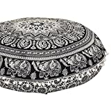 "ANJANIYA 32"" Elephant Mandala Bohemian Yoga Meditation Floor Pillow Comfortable Home Car Bed Sofa Cushion Cover Couch Seating Large Zipped Throw Hippie Decorative Ottoman Boho Indian (Black & White)"