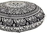 ANJANIYA 32'' Elephant Mandala Bohemian Yoga Meditation Floor Pillow Comfortable Home Car Bed Sofa Cushion Cover Couch Seating Large Zipped Throw Hippie Decorative Ottoman Boho Indian (Black & White)