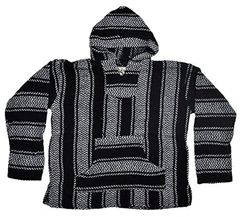 Baja Joe Striped Woven Eco-Friendly Jacket Coat Hoodie (Black, XX-Large)