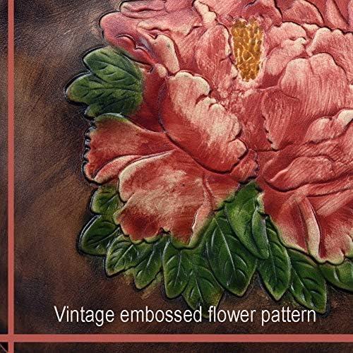 FFYUYI Pelle delle Donne Zaino, Vintage Casuale di Stile del Modello Floreale Zaino,Rosso