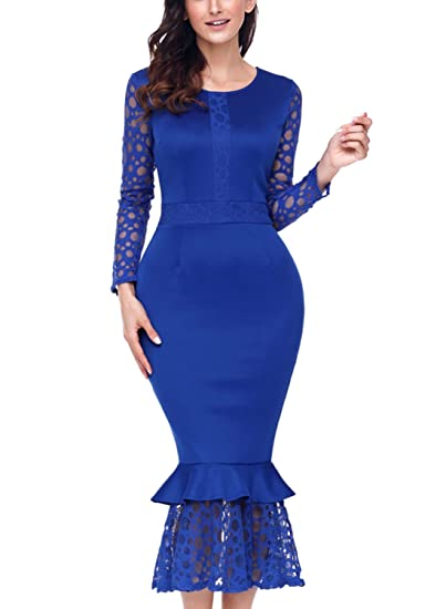 ce1378f8156 BLENCOT Women s Hollow-Out Long Sleeves Lace Ruffle Bodycon Midi Dress-Blue  Small