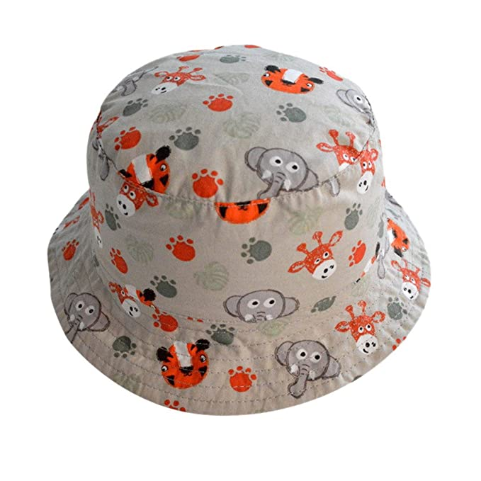 Happy Cherry Bebés Niños Niñas Sombrero de Sol Tipo de Pescador Estampado  de Animal de Zoológico Gorra Infantil Bucket Hat Circunferencia de Cabeza  52cm  ... 552fa07435d