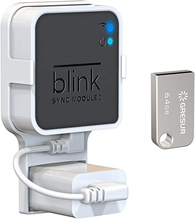 64GB USB Flash Drive and Wall Mount for Blink Sync Module 2, Space Saving Mount Bracket Holder for All-New Blink Outdoor Blink Indoor Home Security Camera with Easy Mount Short Cable