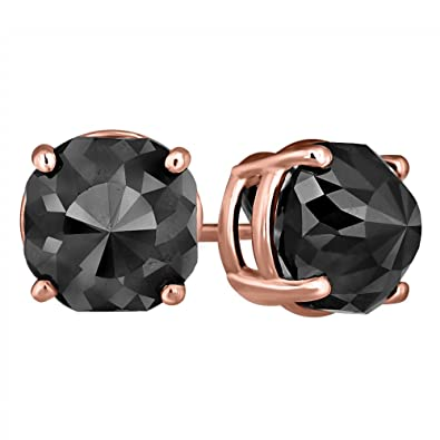 3f278e857 Image Unavailable. Image not available for. Color: Black Diamond Stud Earrings  14k Rose Gold 2 ct ...