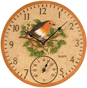 "Smart Garden Robin Bird Wall Clock & Thermometer Outdoor Garden Clock 12"" Weatherproof"
