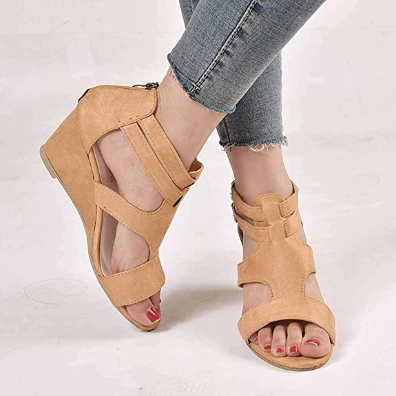 HCFKJ Fashion Girls Wild Low-Heeled Students Casual Sandals Fish Mouth Open Toe Shoes