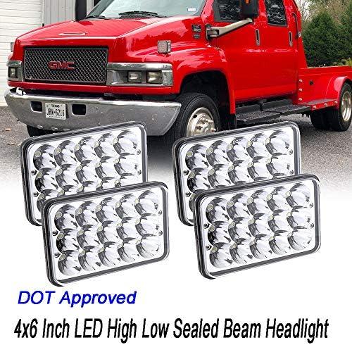 chevy c5500 headlamp wiring amazon com dot approved 4x6  sealed beam led headlights sealed  sealed beam led headlights