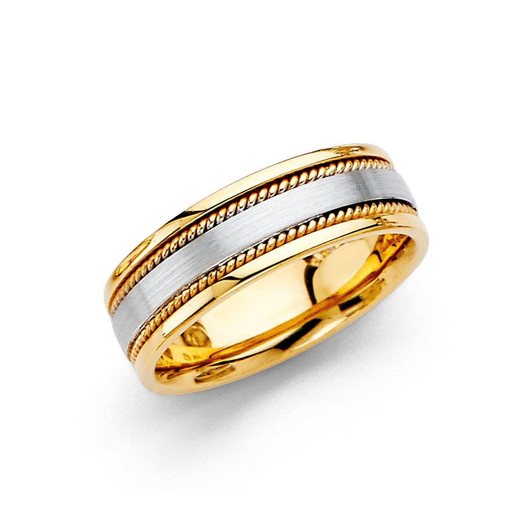 Wedding Band Solid 14k Yellow & White Gold Rope Edge Ring Comfort Fit Two Tone Mens Womens 6 mm Size 5.5