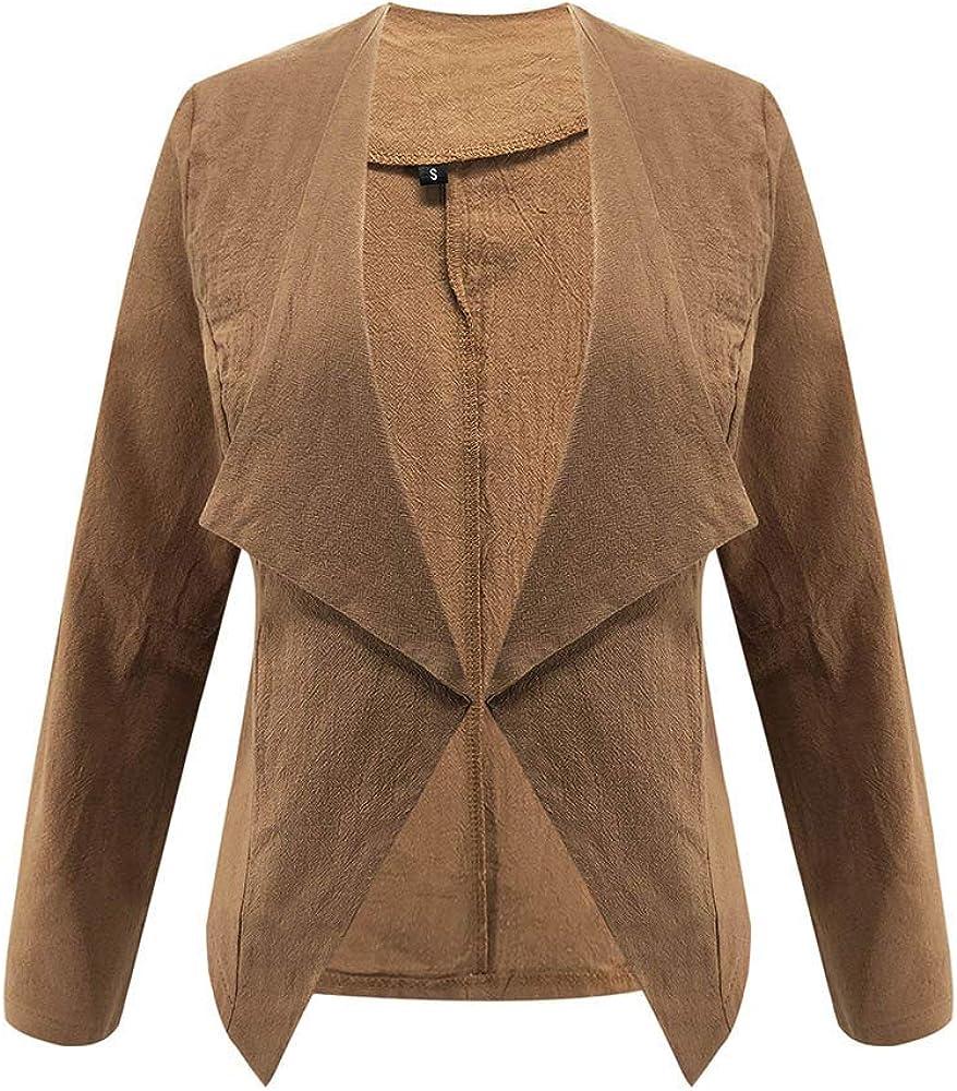 Saitingdianzi Women Blazer Open Front Short Cardigan Work Office Suit Jacket Coat