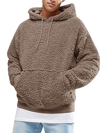 new concept 90500 73cf2 Gemijacka Pullover Herren Hoodie Herren Kapuzenpullover Plüsch Hoodie  Sweatshirt Teddy-Fleece Pullover mit Taschen