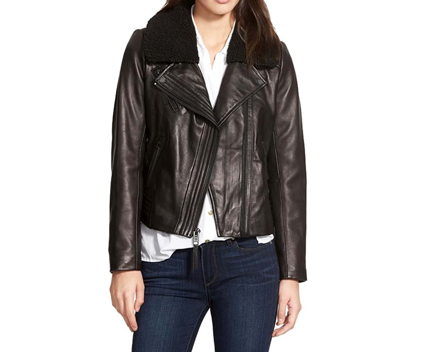 6a61139851a4 Michael Kors Moto Leather Jacket with Fur Collar at Amazon Women s Coats  Shop