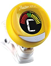 Guitar tuner - with batteries included for guitar, violin, bass, viola, ukulele tuner. Professional grade tuner - ROWIN LT-21 (yellow)