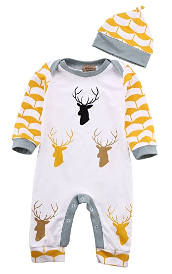 f8ab3488100 Cute Deer Baby Boys Girls Long Sleeve Bodysuit Romper Jumpsuit Hat Outfits  Set